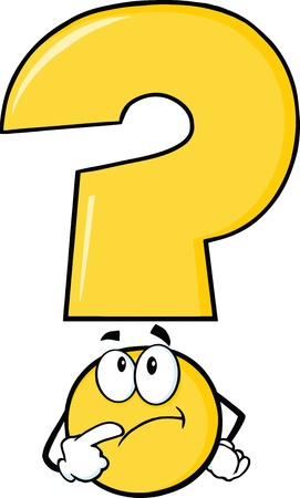 Yellow Question Mark Character Thinking Illustration