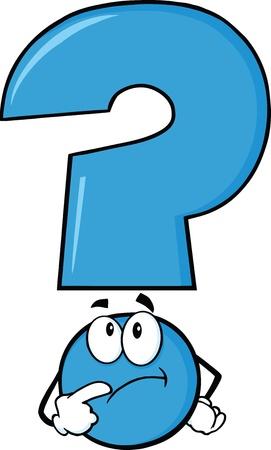 D'interrogation bleu Pensée de caractères Banque d'images - 21491973