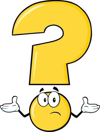 interrogativa: Indicador amarillo de dibujos animados con una expresión confusa