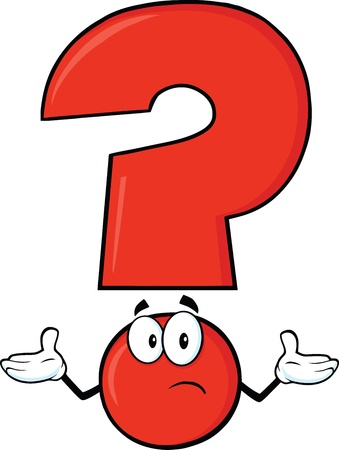punctuation: Red Question Mark Cartoon Character With A Confused Expression