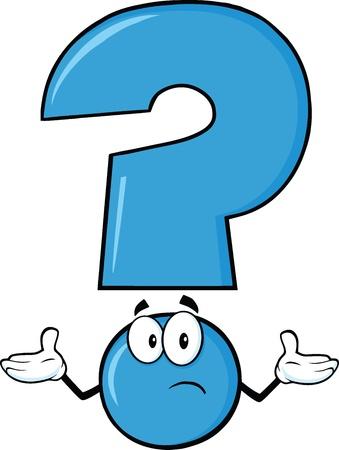 interrogativa: Signo de interrogación azul de dibujos animados con una expresión confusa