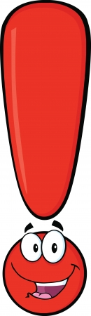Happy Red Exclamation Mark Cartoon Character