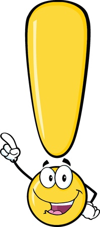 exclaim: Yellow Exclamation Mark Cartoon Character Pointing With Finger