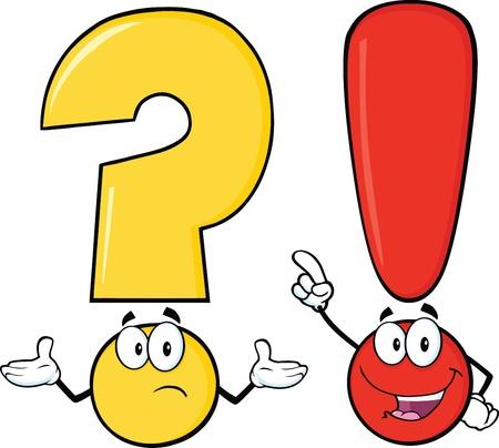 Signo de interrogación y exclamación personajes de dibujos animados Ilustración de vector