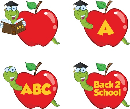Happy Worm In Red Apple  Set Collection Vector
