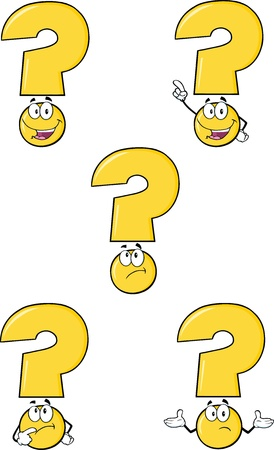 concentrate: Yellow Question Mark Cartoon Characters  Set Collection