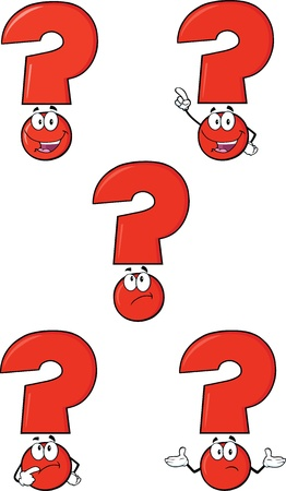 Red Question Mark Cartoon Characters  Set Collection  Vector