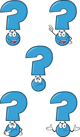 focusing: Blue Question Mark Cartoon Characters  Set Collection