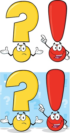 exclaim: Question Mark And Exclamation Mark Characters  Set Collection