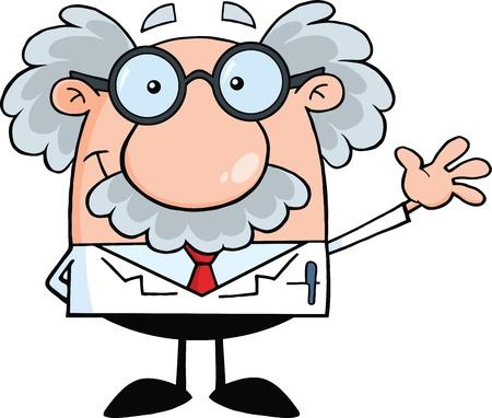재미 과학자 또는 교수 미소와 인사말 흔들며 일러스트