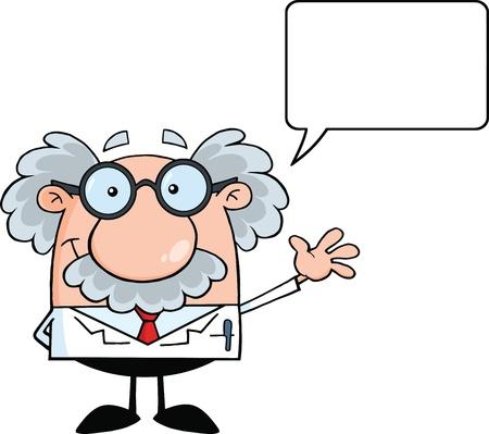 Divertido científico o profesor sonriendo y saludando Por felicitación con la burbuja del discurso
