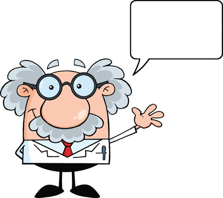 science scientific: Funny Scientist Or Professor Smiling And Waving For Greeting With Speech Bubble Illustration