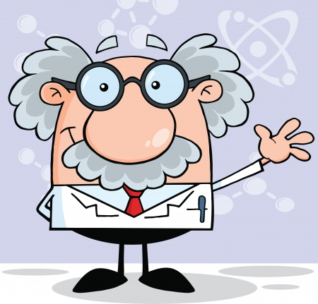 Funny Scientist Or Professor Smiling And Waving Vector