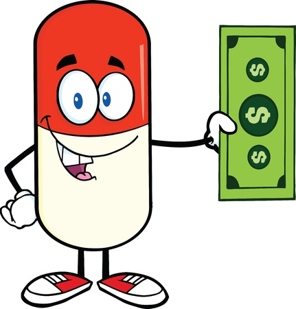 Pill Capsule Cartoon Mascot Character Showing A Dollar Bill Stock Vector - 21642146