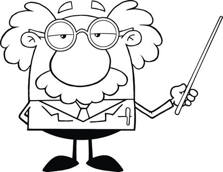 Black And White Funny Scientist Or Professor Holding A Pointer Çizim