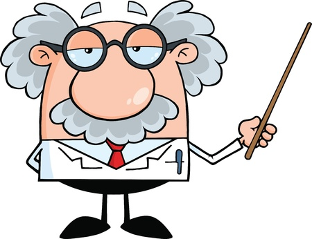 Divertido científico o profesor que sostiene un puntero