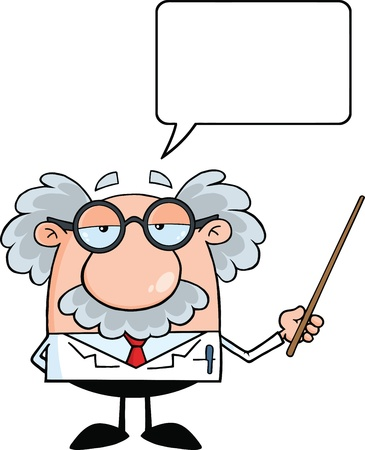 Funny Scientist Or Professor Holding A Pointer With Speech Bubble Vector