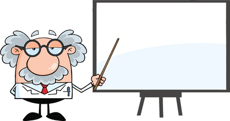 Funny Scientist Or Professor With Pointer Presenting On A Board Vector