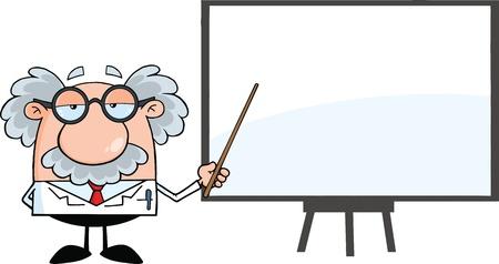 Lustige Wissenschaftler oder Professor mit Zeiger Presenting Auf Einem Vorstand Illustration