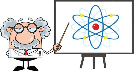 Funny Scientist Or Professor With Pointer Presenting An Atom Diagram Vector