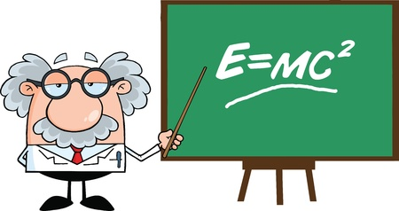 Funny Scientist Or Professor With Pointer Presenting Einstein Formula Vector