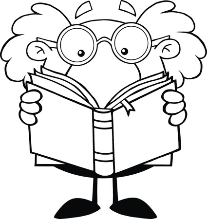 Black And White Funny Scientist Or Professor Reading A Book Vector