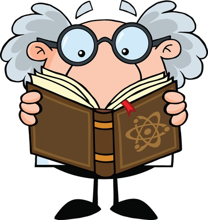 Funny Scientist Or Professor Reading A Book Vector