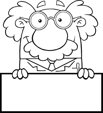 Black And White Smiling Scientist Or Professor Over Blank Sign Vector