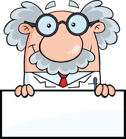 빈 기호에 걸쳐 과학자 또는 교수 미소