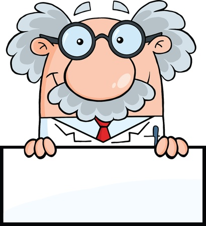 Smiling Scientist Or Professor Over Blank Sign