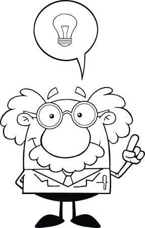 Black And White Smiling Scientist Or Professor With Good Idea Vector