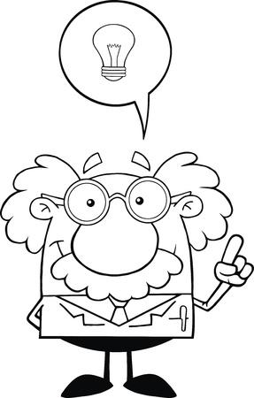 Zwart-wit Lachend wetenschapper of professor met Goed Idee Stockfoto - 21699402