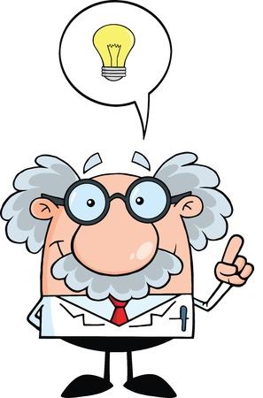 goed idee: Glimlachend Wetenschapper Of Professor Met Goed Idee Stock Illustratie