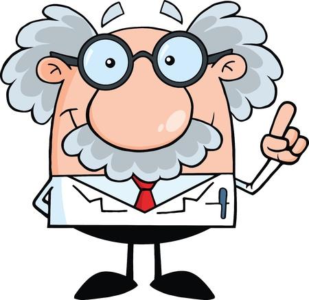 Lächelnd Wissenschaftler oder Professor Mit Einer Idee Illustration