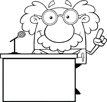 Black And White Scientist Or Professor Present From Podium Vector