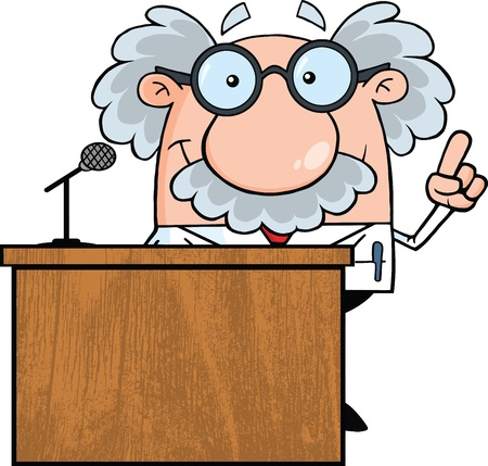 Smiling Scientist Or Professor Present From Podium Vector