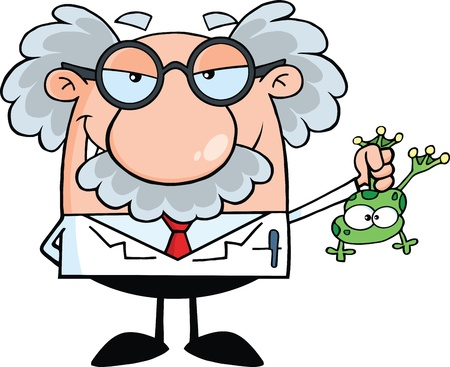 Smiling Mad Scientist Or Professor Holding A Frog Vector