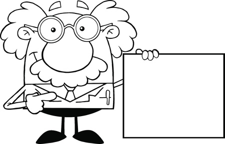 Black And White Scientist Or Professor Showing A Blank Sign Illustration
