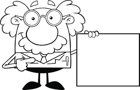 Zwart-wit wetenschapper of professor met een lege Teken