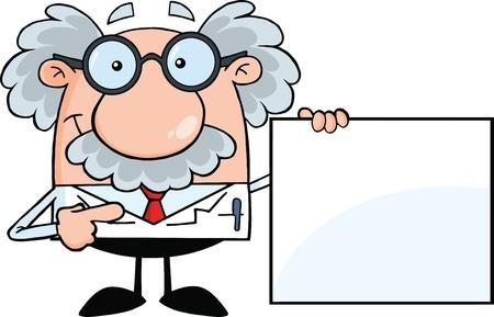 profesor: Científico o profesor mostrando un cartel en blanco