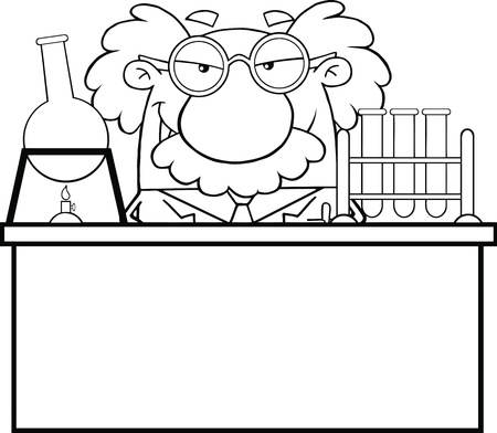 Black And White Mad Scientist Or Professor In The Laboratory Vector