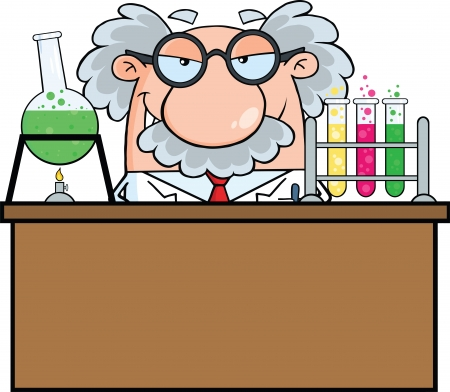 Mad Scientist Or Professor In The Laboratory Illustration