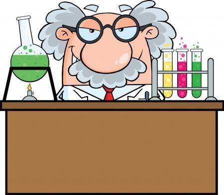 Mad Scientist Or Professor In The Laboratory Vettoriali