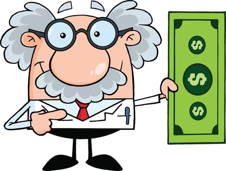 cartoon money: Scientist Or Professor Showing A Dollar Bill