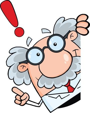 과학자 또는 교수는 조언 빈 기호를 둘러보고 일러스트