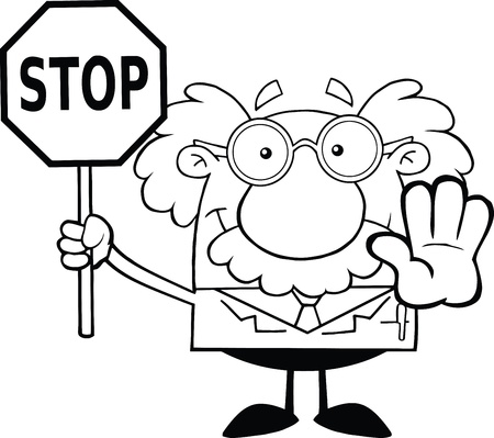 Black And White Scientist Or Professor Holding A Stop Sign Vector