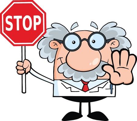 Wetenschapper of professor met een stopbord