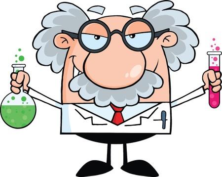 Szalony naukowiec lub profesor trzyma butelkę i kolby z płynami