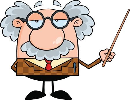Profesor divertido que sostiene un puntero Ilustración de vector