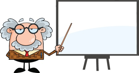 Funny Professor With Pointer Presenting On A Board Vector